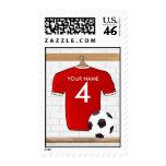 Franqueo (rojo) adaptable de la camisa del fútbol