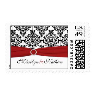 Franqueo rojo, blanco, y negro del damasco sellos