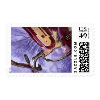 Franqueo rojo de la bicicleta de los años 40 del sello postal