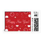 Franqueo rojo de la Feliz Año Nuevo de las burbuja
