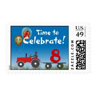 Franqueo rojo de la fiesta de cumpleaños del sellos