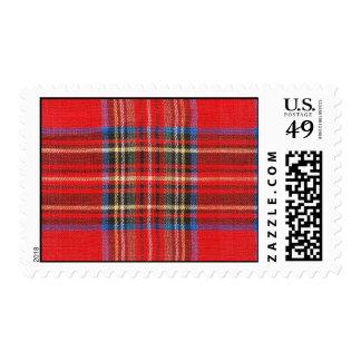 Franqueo rojo de la tela escocesa