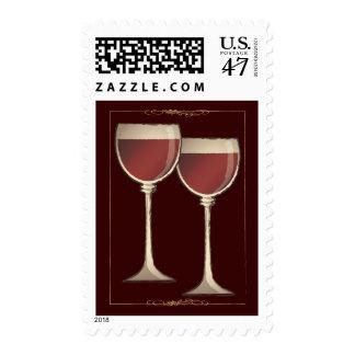 Franqueo rojo de las copas de vino del Viejo Mundo Estampilla