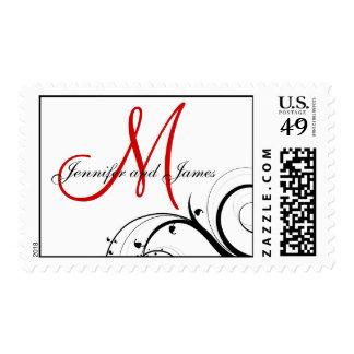 Franqueo rojo del boda del monograma de los sello postal