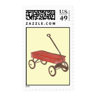 Franqueo rojo del carro sellos postales