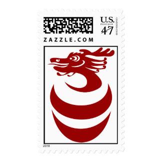 Franqueo rojo del dragón timbre postal