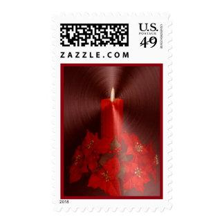 Franqueo rojo del navidad de la vela