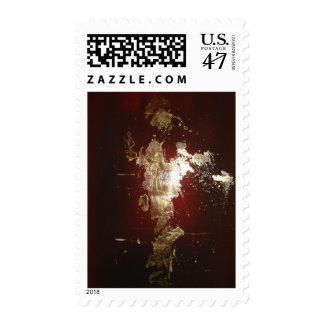 Franqueo rojo marrón del oro del expresionista sello