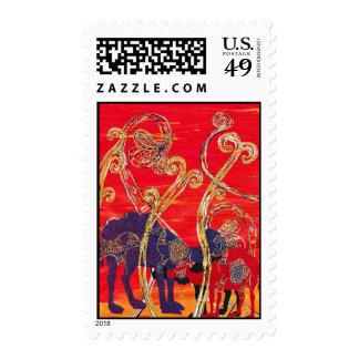 Franqueo rojo y azul de los camellos sellos