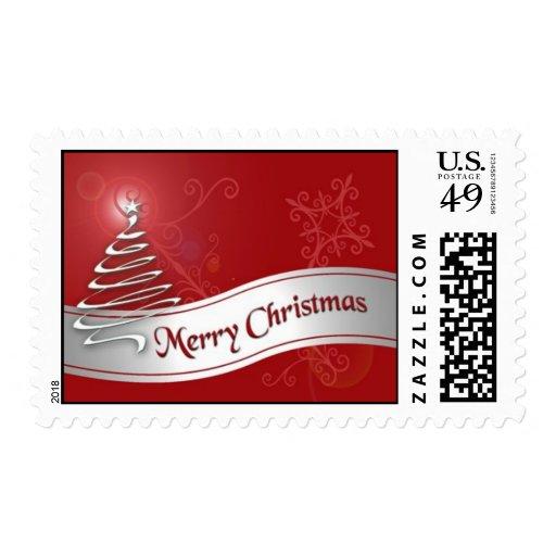 Franqueo rojo y de plata de la cinta del navidad