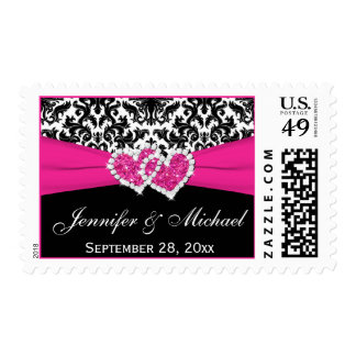 Franqueo rosado blanco negro del boda del damasco sello