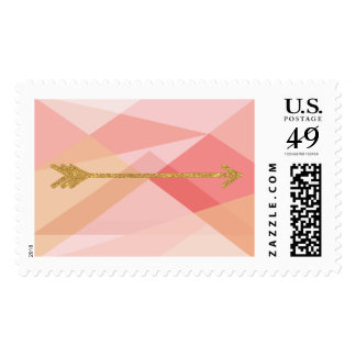 Franqueo rosado coralino de la flecha del oro de