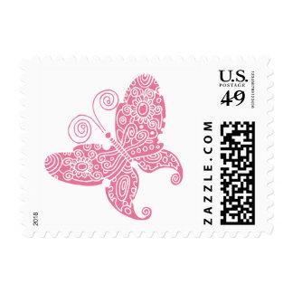 Franqueo rosado de la mariposa