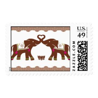 Franqueo rosado de los elefantes del corazón de la timbre postal