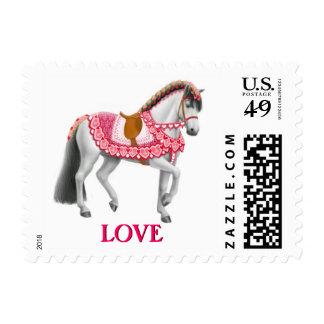 Franqueo rosado del caballo del amor de la tarjeta sello