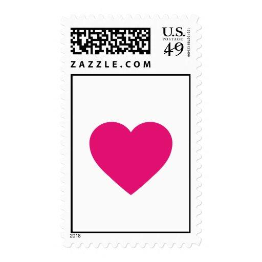 Franqueo rosado del corazón timbre postal