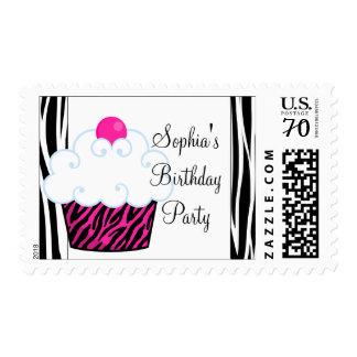 Franqueo rosado del cumpleaños de la cebra del sello