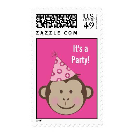 Franqueo rosado del cumpleaños del mono