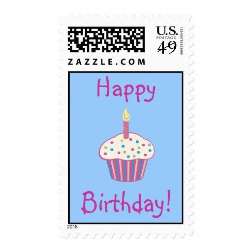 Franqueo (rosado) del feliz cumpleaños sello postal