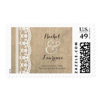 Franqueo rústico de la arpillera y del boda del co sellos postales