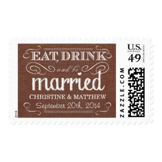 Franqueo rústico del boda de Brown de la moca de Sello Postal