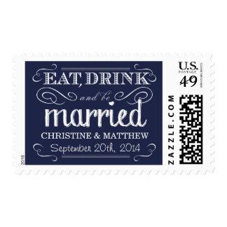 Franqueo rústico del boda de la tiza de los azules timbres postales
