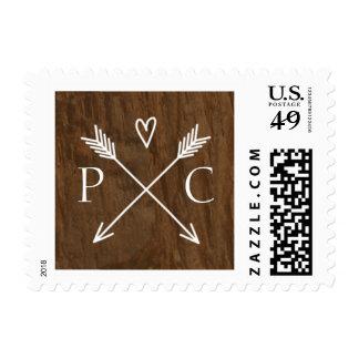 Franqueo rústico del boda del árbol timbres postales