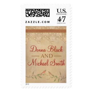 Franqueo rústico del boda del cordón del vintage sello postal