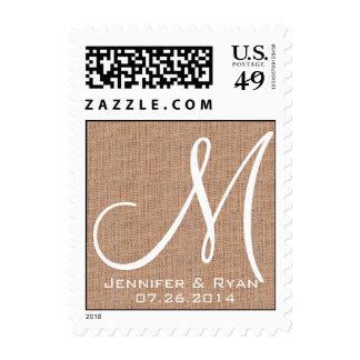 Franqueo rústico del boda del monograma de la impr sellos