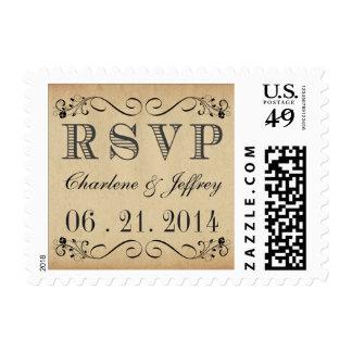 Franqueo rústico del boda del pergamino de RSVP