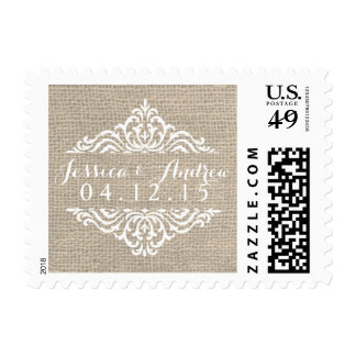 Franqueo rústico del boda del vintage del damasco timbre postal