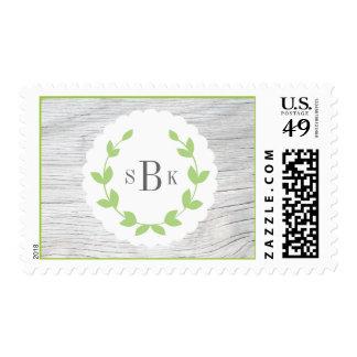 Franqueo rústico del monograma de la guirnalda sello