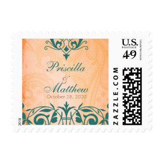 Franqueo rústico, toscano del boda del trullo sello postal