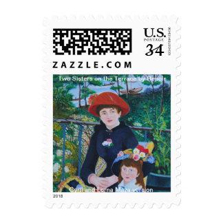 """Franqueo/sello """"dos hermanas en la terraza """" sello postal"""