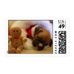 Franqueo soñoliento del perrito del boxeador del n timbres postales