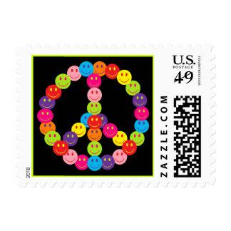Franqueo sonriente de la paz sellos postales