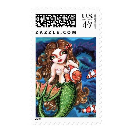 Franqueo subacuático de los pescados de la sirena sello postal