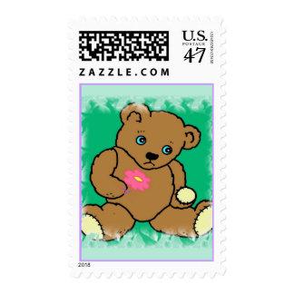 Franqueo triste del oso sello postal