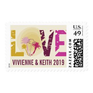 Franqueo tropical del boda del amor de las timbres postales