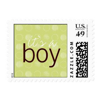 Franqueo verde de la postal del bebé del punto