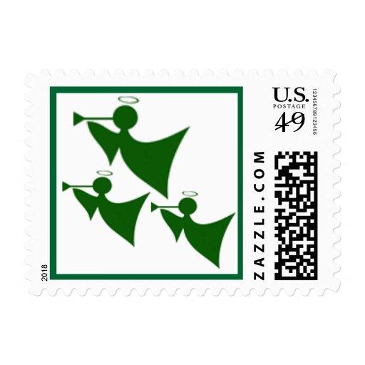 Franqueo verde de tres del ángel navidad de la estampilla