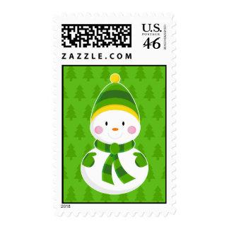 Franqueo verde del navidad del muñeco de nieve