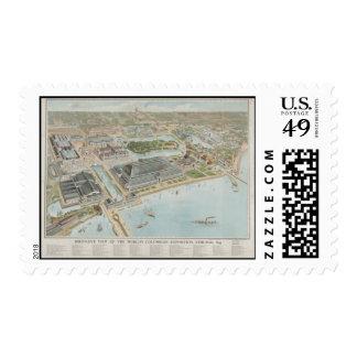 Franqueo-Vintage Mapa-Chicago 1893 Timbres Postales