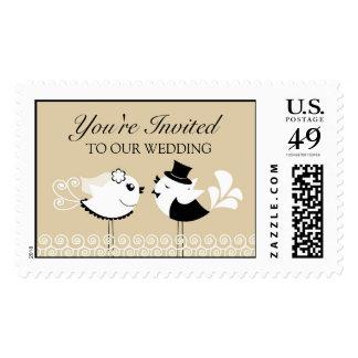 Franqueos grandes de novia y del novio del boda timbres postales