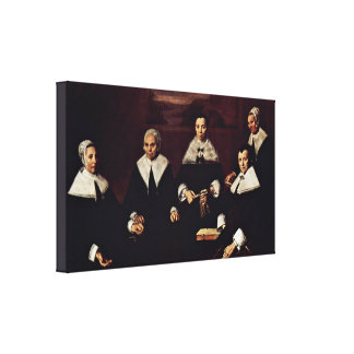 Frans Hals - Group portrait of the regents Canvas Print