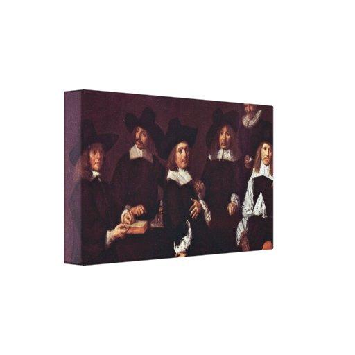 Frans Hals - Group portrait of the regents Canvas Prints