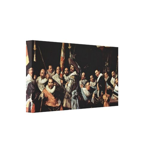 Frans Hals - Meeting of the officers in Haarlem Stretched Canvas Print
