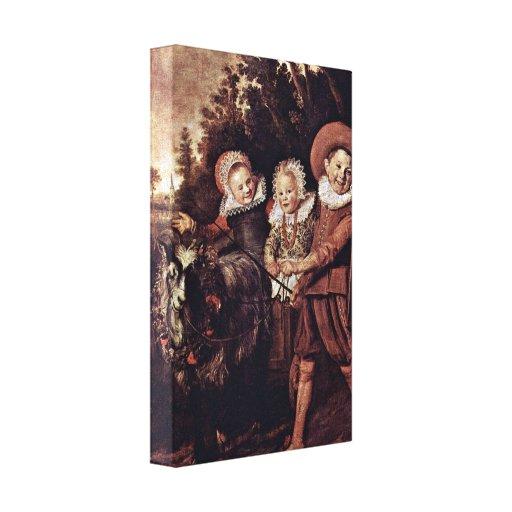 Frans Hals - Three childeren with a goat-cart Canvas Print