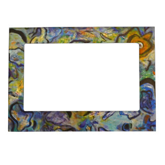 Frantic Rooster Funky Acrylic Abstract Magnetic Frame