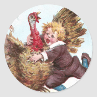 Frantically Flapping Turkey Tries To Fly Away Classic Round Sticker